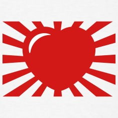 flag japan heart design t-shirt
