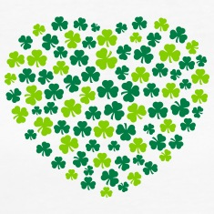 st-patrick shamrocks heart irish design