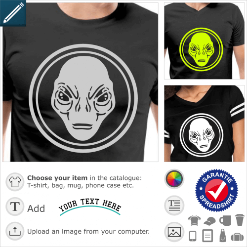 Alien circle t-shirt. Alien surrounded by a circle, a science fiction and geek customizable design.