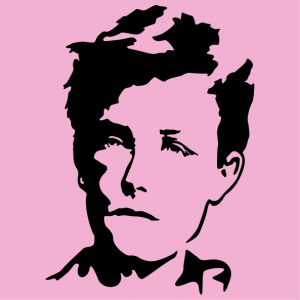 Literature T-shirt. Stylized portrait of Arthur Rimbaud, a writer and poet design.