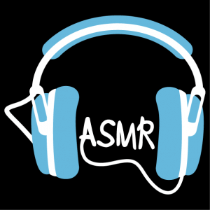T-shirt asmr. ASMR handwritten in capital letters, and headphones.