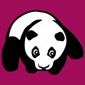 Panda baby on his belly, two color panda design to print on t-shirt or accessory.