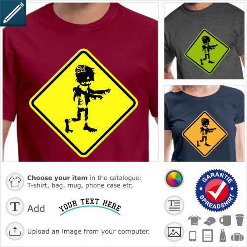 Zombie road sign t-shirt. warning zombie road sign to customize.