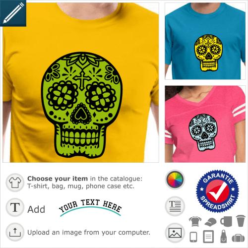 calavera skull t-shirt. Flowered Mexican skull, classic calavera design in 2 colours.