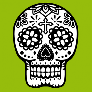 Stylized Mexican skull, design for flex printing on t-shirt or gift.