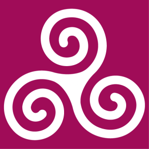 Simple triskelion with a fine and linear design, composed of three spirals tied at the heart, a Celtic design.