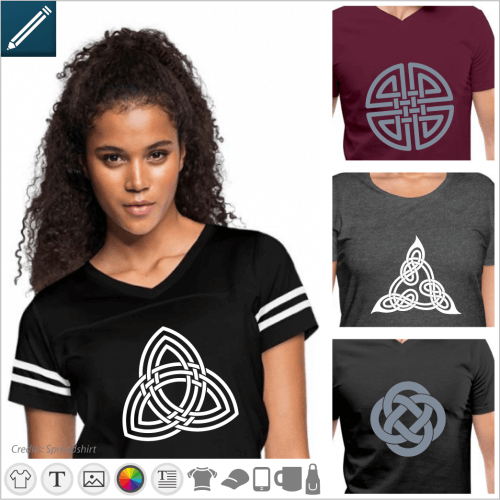 Celtic t-shirt to customize, Celtic design, triskels, triquetra.