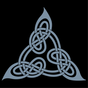 Celtic triangle design adapted from Lindisfarne's book, with intertwined loops.