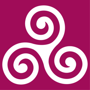 triskelion with serifs and thin branches, a Celtic design.