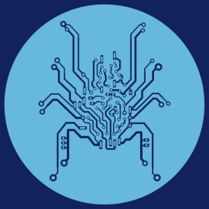 Geek spider, eight-legged circuit board and solid body. Bionic design cut out on a round base.