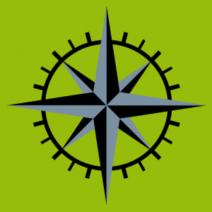 Simple two-colour graduated compass rose, geek design.