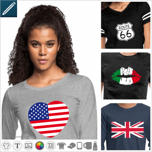 Customized flag and country t-shirt, geography and colors designs of your flag.