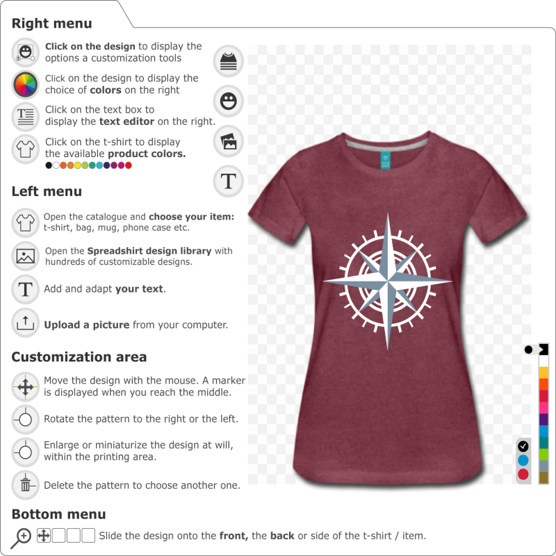 Create your own custom compass t-shirt