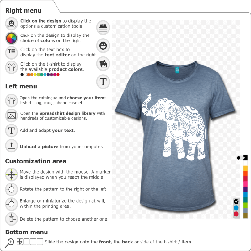 Elephant decorated personalized to be printed on t-shirt