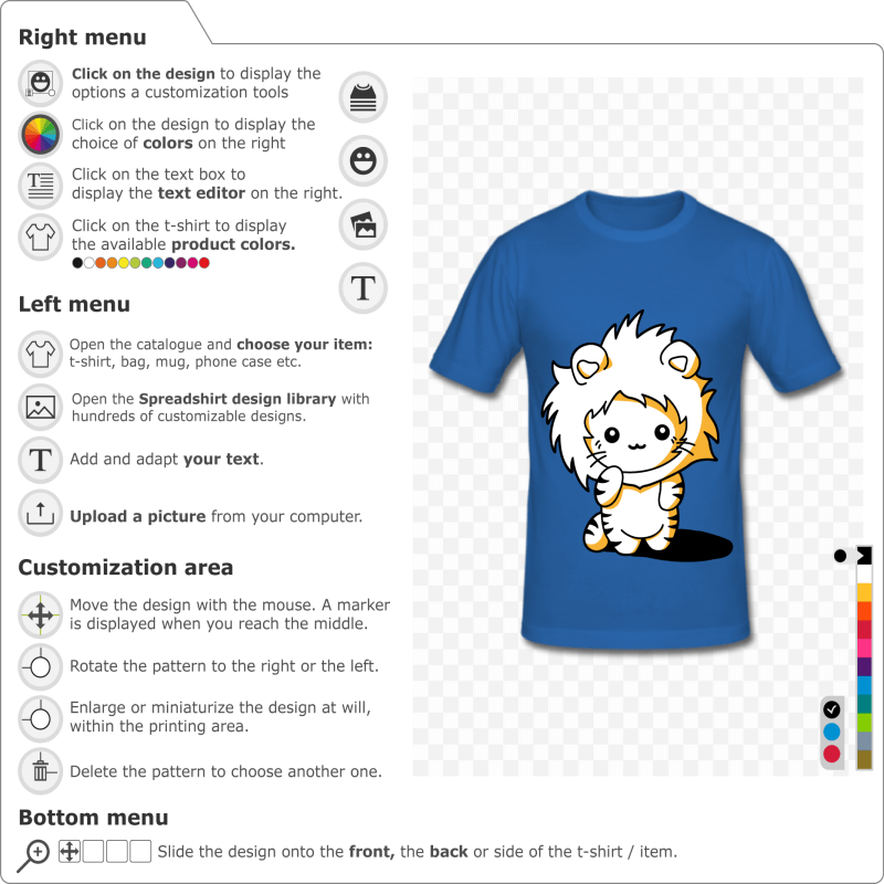 Kitten t-shirt disguised as a lion with a mane. Kawaii cat design in 3 colors to customize online.