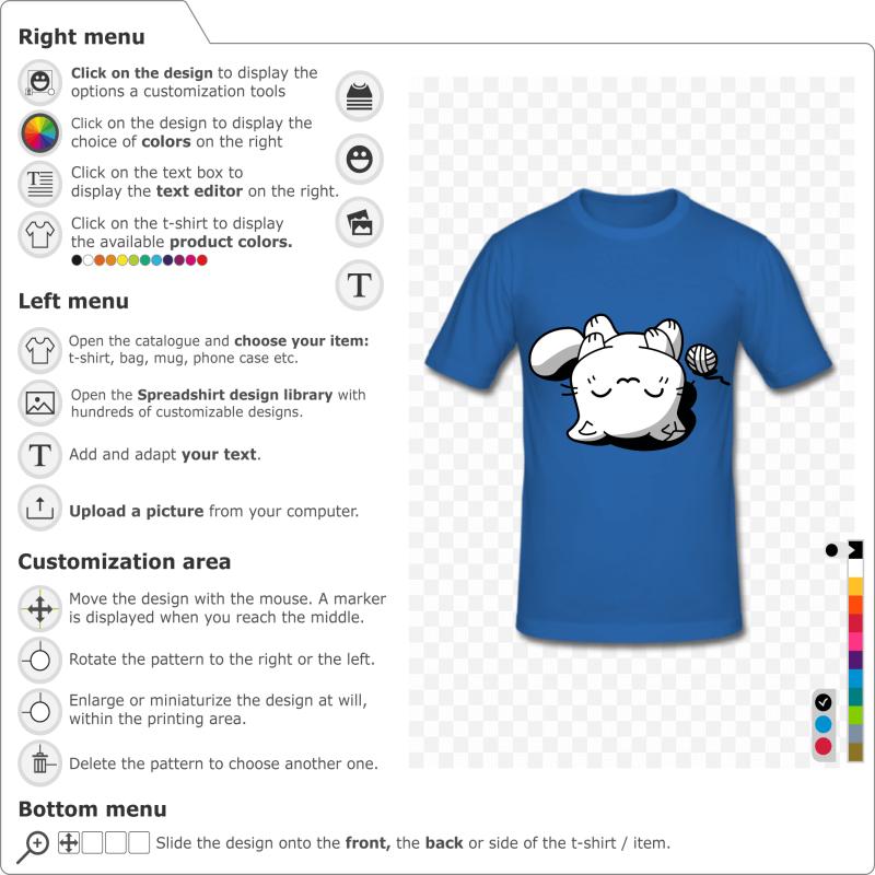 Custom cat t-shirt. Kawaii kitten asleep on the back, 3 colors drawing to customize.