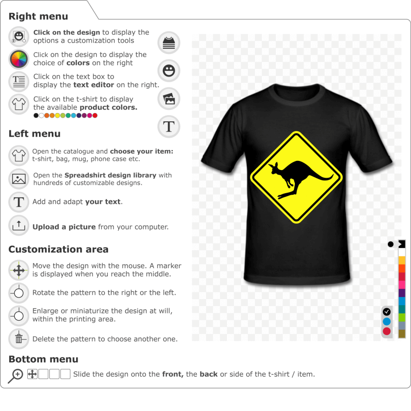 Create a customised Australian kangaroo road sign t-shirt