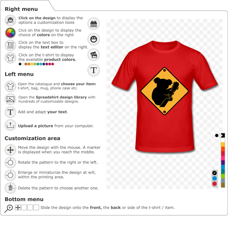 Create a Koala t-shirt road sign online