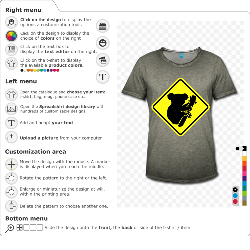 Create your koala road sign t-shirt in profile