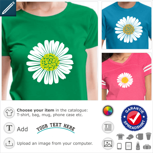 Daisy t-shirt. Custom two-color daisy. The flower is made up of regular petals and a rounded heart, the design is round.
