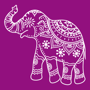 Indian elephant decorated in classic style, flat design and cut-outs.