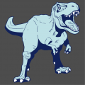 Dinosaur t-shirt, light blue and dark blue t-rex with customizable colors, to be printed online.