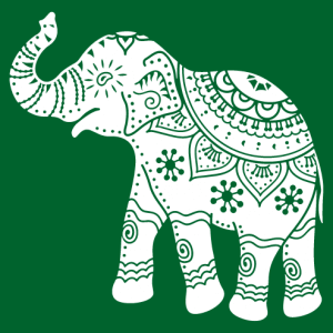 Elephant decorated in Indian style, designed in a customizable color.