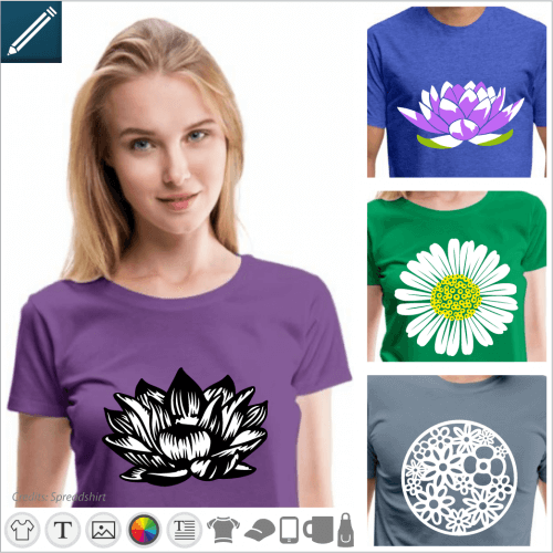 Personalized flower t-shirt, daisy, lotus, floral motifs to print online.