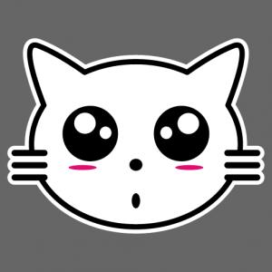 Kitten anime, little kawaii cat head.