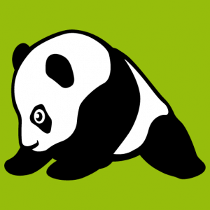 Baby panda sitting, drawn in profile. A panda and kawaii design to customize.