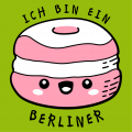 T-shirt humor and quotes, Ich bin ein Berliner, Kennedy quote with a berliner / kawaii donut