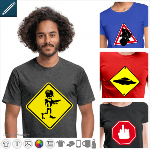 T-shirt with funny traffic signs. Create a funny t-shirt with a custom road signand print it online.