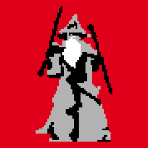 You shall not pass, geek design in pixel art, stylized Moria scene.