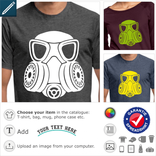 Gas mask t-shirt. Solid gas mask with stylized shapes, double round filter on the sides and large glasses.