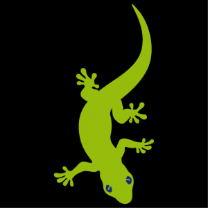 Gecko with a body that undulates. Two-colour gecko design to customise.
