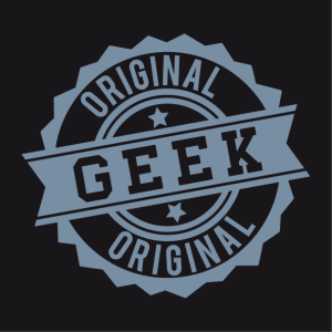 Original Geek T-shirt, vintage design in the shape of a crenellated stamp.