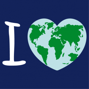 T-shirt I love Earth. A round heart decorated with a world map, a Nature and Ecology design.