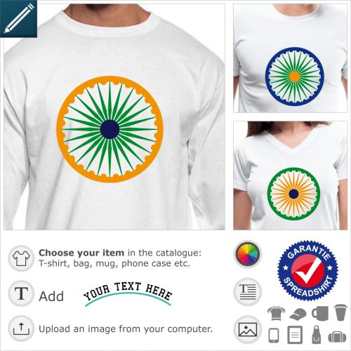 Indian flag chakra t-shirt. Ashoka Chakra in the colors of India, green saffron and navy blue flag.