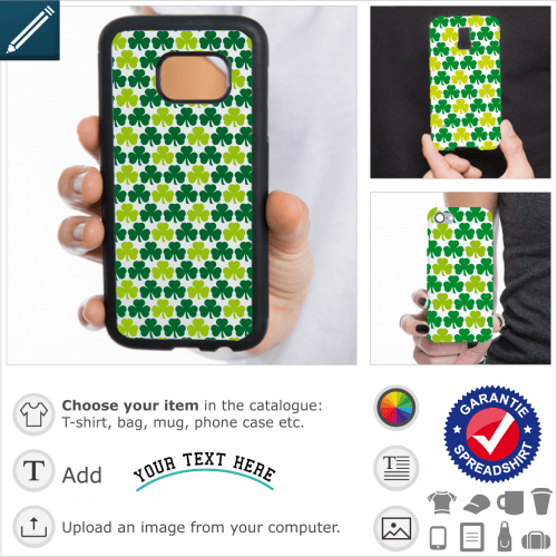 Irish shamrocks case. Shamrocks aligned in a special regular pattern for iPhone case customization.
