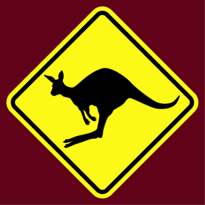 Traffic sign T-shirt. Parodic kangaroo road sign with a jumping kangaroo.
