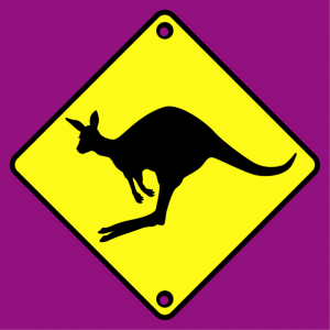 Traffic sign T-shirt. Road sign and kangaroo pictogram funny