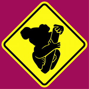 T-shirt road sign. Road sign to customize and print, representing a cute koala.