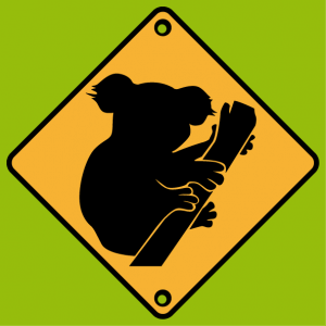T-shirt road sign. Caution koala road sign to customize.