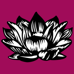 Black and white opaque lotus flower with contrasting lines. A special floral and decorative design for t-shirt printing.