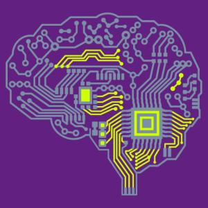 Geek brain, robot and circuit board design.