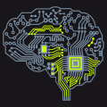 Brain composed of electronic circuits, customizable nerd design for online printing. Customized t-shirt.
