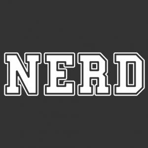 NERD, a Nerd Pride design written in capital letters in college typeface.