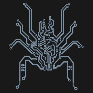 Geek spider designed in printed circuit board, special design for t-shirt printing.