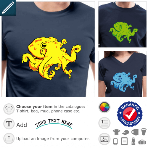 Octopus t-shirt to customize. 3-colour octopus with coiled tentacles, to be printed online.
