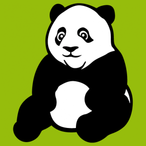 Black and white panda drawn with flat tints and thick contours. A Kawaii and Wild Animal design to customize online.